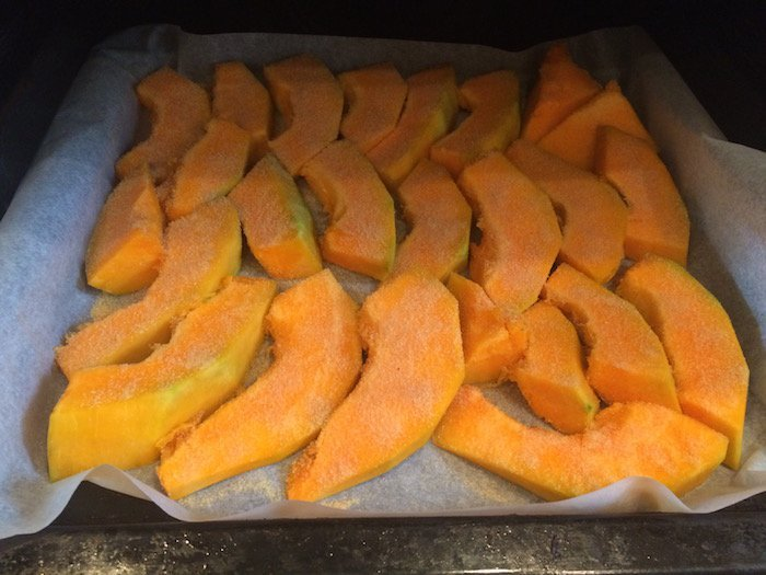 baked pumpkin in oven